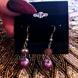 3 for $10 earrings pink pearl and iridescent